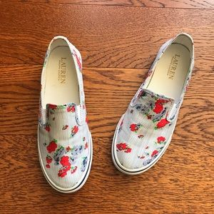 Lauren Ralph Lauren Striped Floral Slip On Shoes